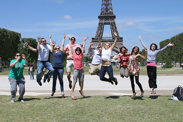 Neag students show their excitement to be in Paris for the Study Abroad Program. (Photo courtesy of Alan Marcus)