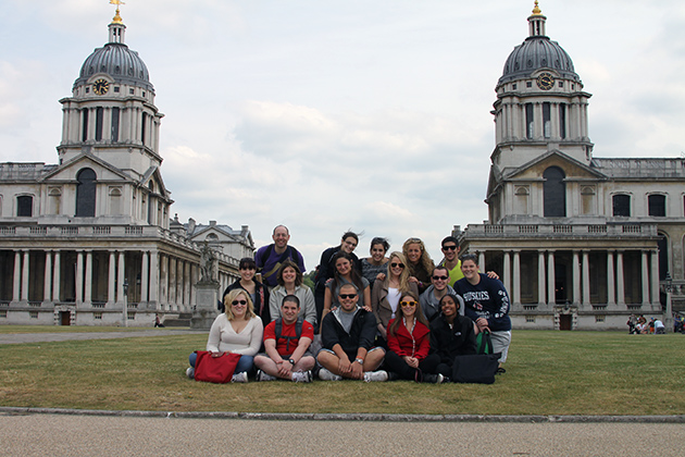 While on the Education Program in London, Neag students visit Maritime Greenwich, the baseline for the world's time zone system and for the measurement of longitude around the globe. (Photo courtesy of Alan Marcus)