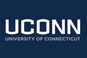 The UConn wordmark, in white on a navy background.
