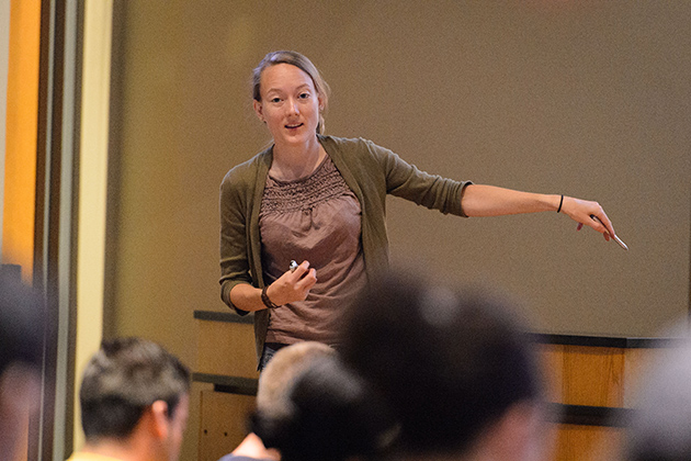 Aimee Morey-Oppenheim, assistant professor-in-residence of chemistry, lectures at the Chemistry Building. Summer courses offer the opportunity to interact with faculty more closely in smaller-sized classes. (Peter Morenus/UConn Photo)