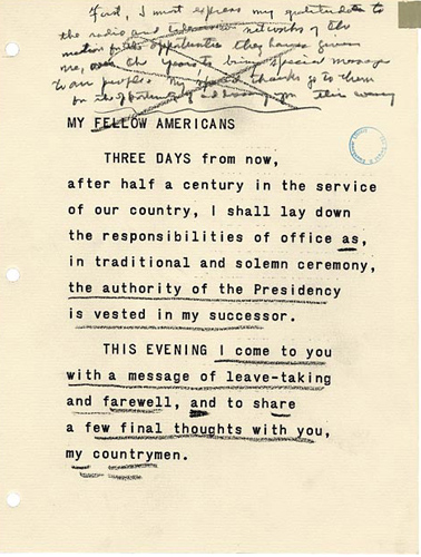A page from President Eisenhower's Farewell Address with hand-written editing notes. (Image courtesy of the Dwight D. Eisenhower Presidential Library and Museum)