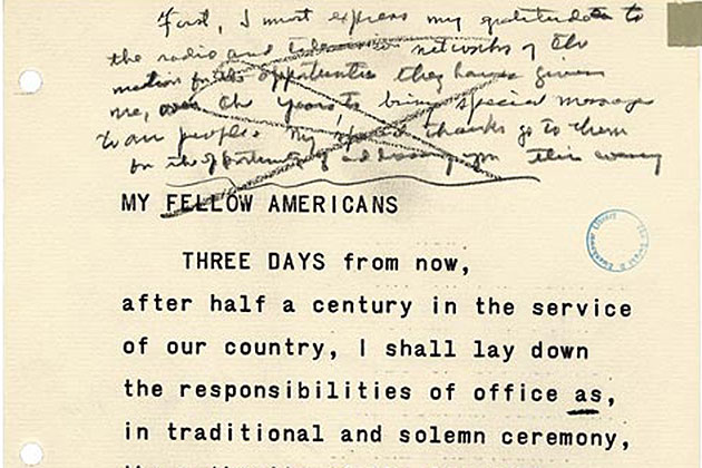 A page from the reading copy of President Eisenhower's farewell address with hand-written editing notes. (Image courtesy of the Dwight D. Eisenhower Presidential Library and Museum)