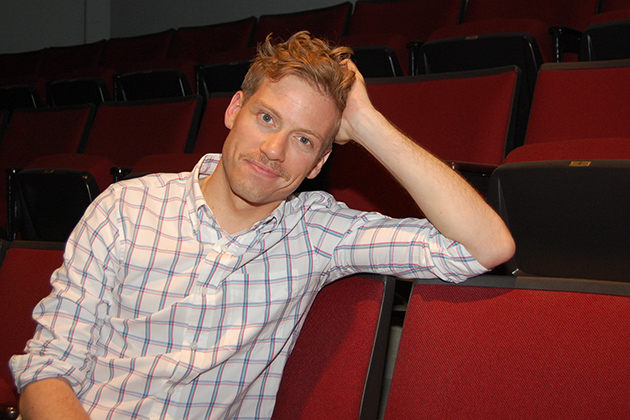 Barrett Foa, who plays Eric Beale in the hit TV series NCIS: Los Angeles, during a break from rehearsals of 'The Music Man' on campus. (Ken Best/UConn Photo)