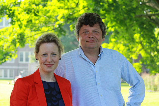 Director of the UConn Human Rights Institute and Associate Professor of History Emma Gilligan has been working with prominent Chechnya human rights activist Stanislav Dmitrievsky on a memory project for victims of war crimes. (Christine Buckley/UConn Photo)