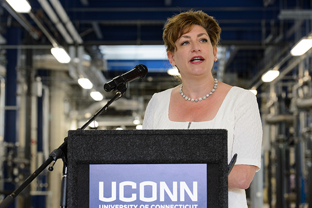 President Susan Herbst speaks at an event to celebrate the opening of the Water Reclamation Facility on July 10, 2013. (Peter Morenus/UConn Photo)