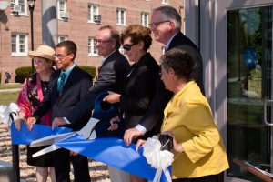 Many local and state dignitaries attended the ribbon cutting ceremony for the new Student Center at the Avery Point Campus. Shown above (l to r) are State Senator Andrea Stillman, President of the Associated Student Government at Avery Point Ronald Tardiff, State Senator Andrew Maynard, UConn President Susan Herbst, Campus Director Michael Alfultis, and State Representative Elissa Wright. (Jeff Gonci/UConn Photo)