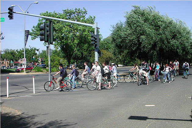Bikes in Davis: Commuters in the bicycle-friendly city of Davis, California. Photo courtesy Norman Garrick.