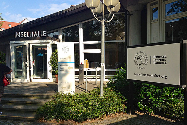 One the three main entrances to Inselhalle (Island Hall), where most of the events of the meeting were held.