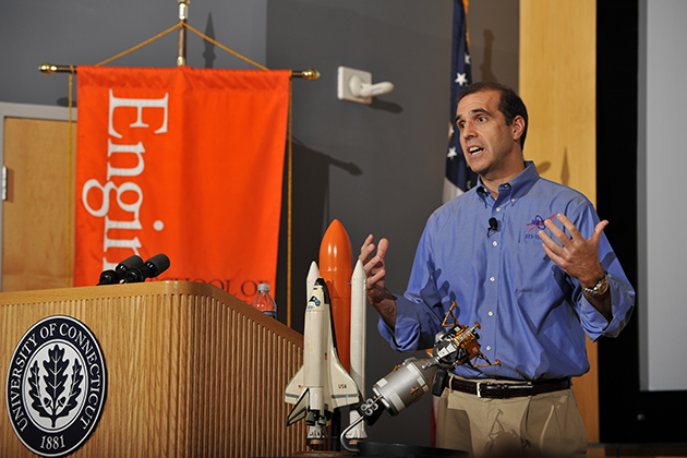 Astronaut Richard Mastracchio '82 (ENG) spoke at the Student Union Theatre in 2010. (Peter Morenus/UConn Photo)