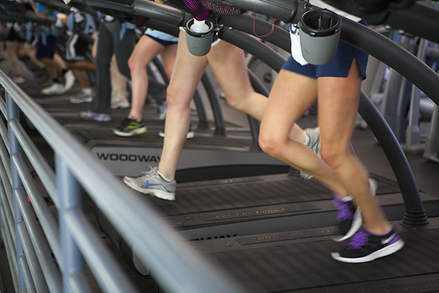 Students running on treadmills at the Student Recreation Facility. (Sean Flynn/UConn Photo)