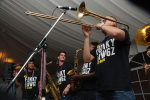 The Funky Dawgz Brass Band performs at the Nathan Hale Inn on Sept. 5, 2013. (Juanita Austin/UConn Photo)
