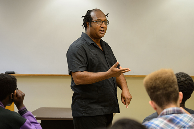 Lewis Gordon, professor of philosophy, lectures at Storrs Hall on Sept. 10, 2013. (Peter Morenus/UConn Photo)