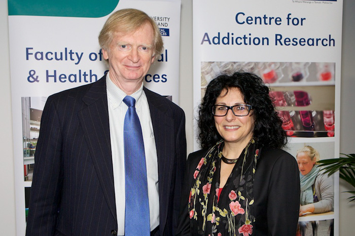 Thomas Babor (left) spent two weeks in New Zealand in 2013 as a visiting professor at the University of Auckland, where he was a special guest speaker at the official opening of the school's Centre for Addiction Research. He is pictured with associate professor Janie Sheriden, director of the Auckland center. (Photo provided by the University of Auckland)