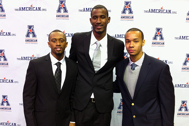 From left, Ryan Boatright '15 (CLAS), DeAndre Daniels '15 (CLAS), and Shabazz Napier '14 (CLAS) in Memphis, Tenn., on Oct. 16. (Lindsey Lemoine/UConn Photo)