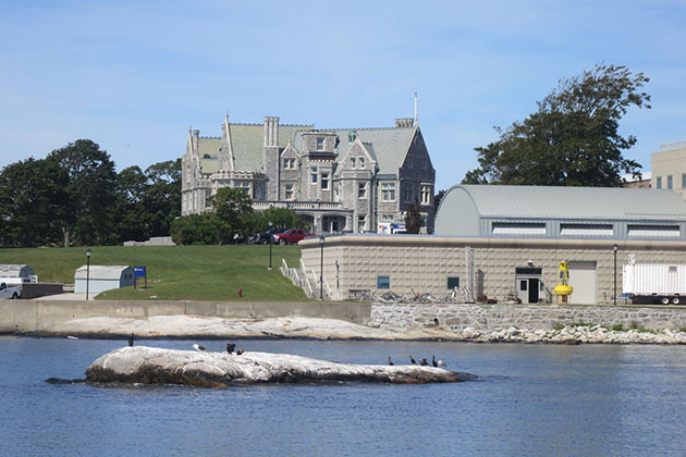 A view of Branford House at the Avery Point campus, taken from the Mystic Whaler. Avery Point is ideally situated for classes to take advantage of coastal and ocean resources, and UConn students from any campus may take the maritime studies courses offered there. (Nathaniel Trumbull/UConn Photo)