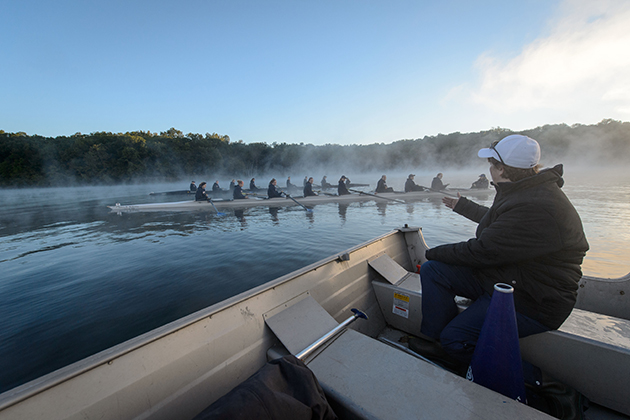 Members of the rowing team must commit to the hard work of rising early each morning for practices and training. (Peter Morenus/UConn Photo)
