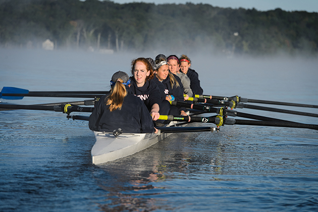 The women's rowing team during practice