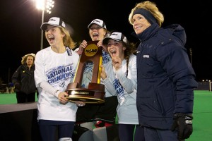 Champions on and off the field: the field hockey team won both an NCAA title and a Public Recognition Award. (Keith Lucas for UConn)