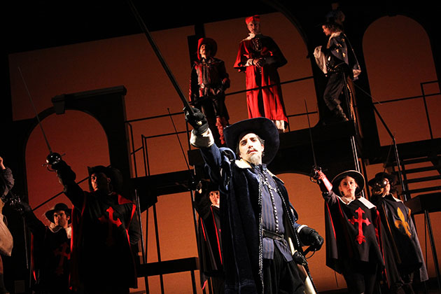 """""""To War"""" Alexander Savronsky as Captain De Treville (center) and (above) Rocco Sisto as Cardinal Richelieu star in The Three Musketeers at Connecticut Repertory Theatre from Nov. 21 through Dec. 8 in the Harriet S. Jorgensen Theatre. (Gerry Goodstein for UConn)"""