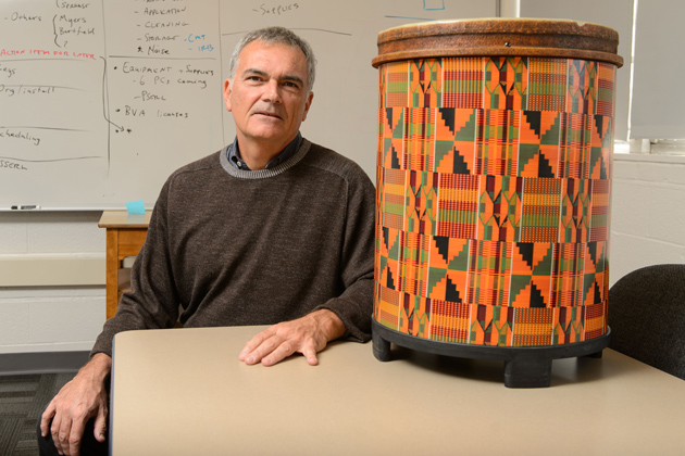 Ed Large, professor of psychology, uses sophisticated mathematical techniques and brain scanning to study how humans process music, especially rhythm. (Peter Morenus/UConn Photo)