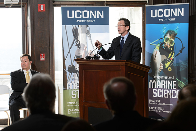 Governor Dannel P. Malloy speaks at an event to announce the launch of the Institute for Community Resiliency and Climate Adaptation held on Jan. 24, 2014 at the Branford House at the University of Connecticut Avery Point campus in Groton. (Peter Morenus/UConn Photo)