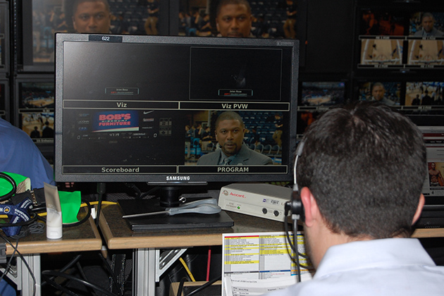 One of the computer screens in the ESPN GameDay production truck, with a close-up of Jalen Rose, a GameDay analyst, while he is on the air. (Ken Best/UConn Photo)