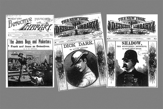 Covers of dime novels in the New York Detective Library series. (Courtesy of the University of Rochester's Rare Books and Special Collections)