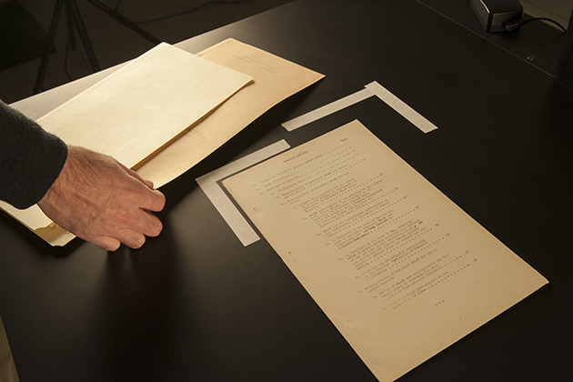 he Nuremberg War Trials archive of Sen. Thomas Dodd are being converted to digital files as part of a major effort to digitize the Dodd Research Center holdings on Jan. 9, 2014. (Sean Flynn/UConn Photo)