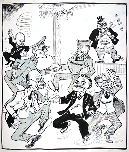 Politicians dancing to Wall Street's tune, for publication in The Daily Worker, c. 1948, ink on paper, by William Gropper, American, 1897-1977.