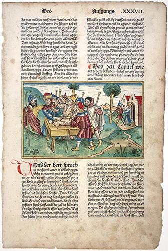 The Institution of Passover from the Koberger Ninth German Bible, 1483, color woodcut by Anton Koberger c. 1440/1445-1513.