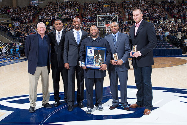 The starting line-up for the team that won UConn's first men's basketball national championship, during the Huskies of Honor ceremony Feb. 23 in Gampel Pavilion. from left, Head Coach Jim Calhoun, Kevin Freeman, Richard 'Rip' Hamilton, Khalid El-Amin, Ricky Moore, Jake Voskuhl. (Steve Slade '89 (SFA) for UConn)
