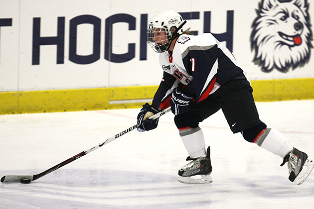 Jessica Lutz '10 (CANR) played on the UConn women's ice hockey team from 2007 to 2010. (Steve Slade '89 (SFA) for UConn)