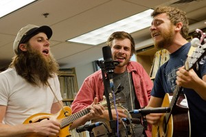 Members of Poor Old Shine, a local folk group, perform at the WHUS performance studio as part of the Studio Sessions Series of New Spins. (Ariel Dowski '14 (CLAS)/UConn Photo)
