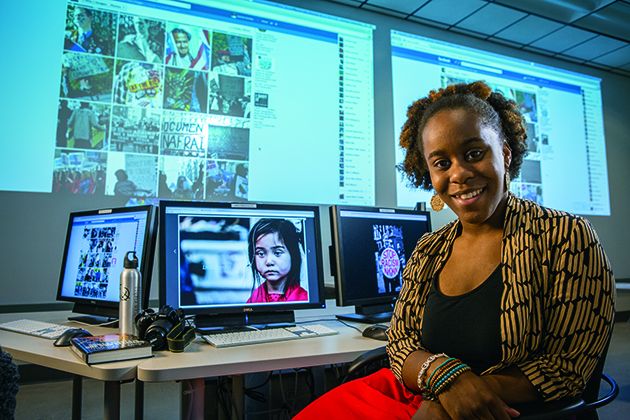 Juanita Austin '15 (SFA) explored various different options before reaching a solution that combines her interests in human rights, the arts, and marketing. (Paul Horton for UConn)
