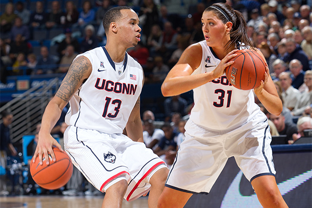 Shabazz Napier and Stefanie Dolson are among the finalists for the 2013-14 Senior CLASS Awards. (Photos by Steve Slade '89 (SFA) for UConn)