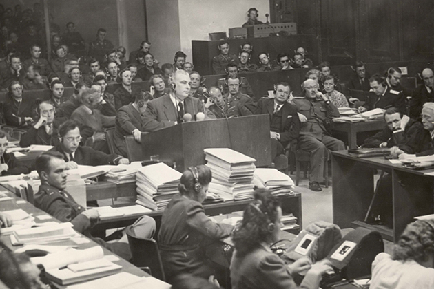 Thomas J. Dodd cross-examines Alfred Rosenberg before the International Military Tribunal at Nuremberg (Thomas J. Dodd Papers, Archives & Special Collections at the Thomas J. Dodd Research Center, University of Connecticut Libraries)