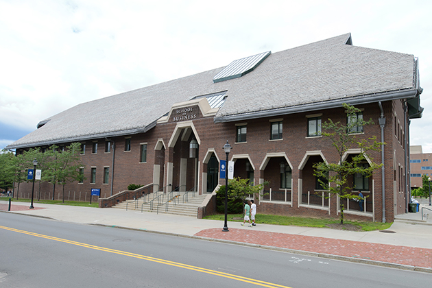 A view of the School of Business Building on June 26, 2012. (Peter Morenus/UConn Photo)