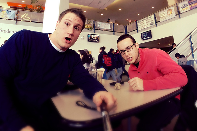 JJ Bivona, left, and friend having lunch at the Student Union. Instagram Takeover, Feb. 2014