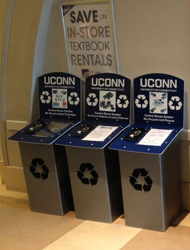 New e-waste recycling bins placed at three high-traffic locations on campus (Babbidge Library, the UConn Co-Op, and the Student Union) have helped upgrade recycling of personal e-waste – cell phones, batteries/laptop batteries, and inkjet cartridges. (UConn Office of Environmental Policy Photo)