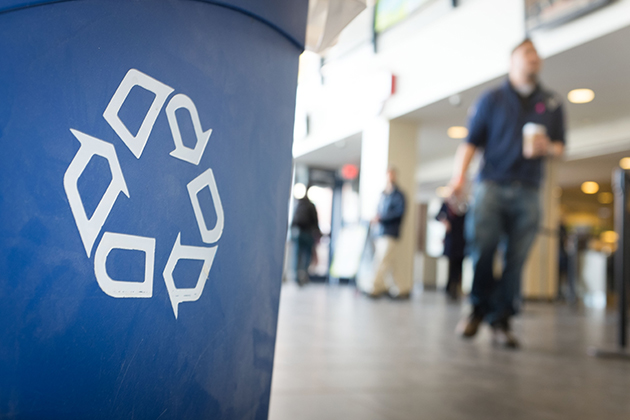 A recycling receptacle at the Student Union. (Peter Morenus/UConn Photo)