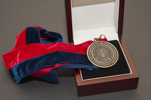 Board of Trustees Distinguished Professor medals on March 20, 2014. (Sean Flynn/UConn Photo)