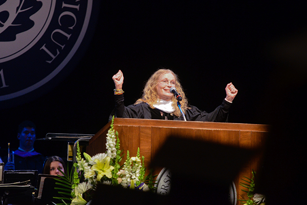 Mia Farrow, actress and advocate, speaks at the School of Fine Arts Commencement Ceremony at Jorgensen Center for the Performing Arts.