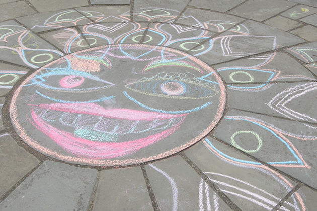 Artwork in the courtyard of the Benton Museum, part of Draw On! at the Benton, a week-long community activity. (Cody Carver '15 (CLAS)/UConn Photo)