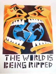 """The World is Being Ripped,"" by Seth Tobocman, was originally spray painted on the sidewalks of New York City's Lower East Side in the 1980s."