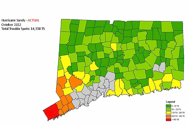 (UConn Image) This Map Shows The 14,338 Actual Power Outages Impacting Connecticut  Light U0026 Power Customers In The