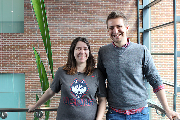 Andrew Frank and Emma Shelly, both first-year Ph.D. students in the Department of Ecology and Evolutionary Biology, have both earned Graduate Research Fellowships from the National Science Foundation (NSF). (Bri Diaz/UConn Photo)