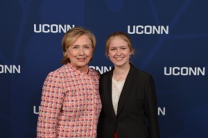 Molly Rockett '15 (CLAS), president of the UConn College Democrats, meets former Secretary of State Hillary Rodham Clinton at the Edmund Fusco Contemporary Issues Forum on April 23. (Peter Morenus/UConn Photo)