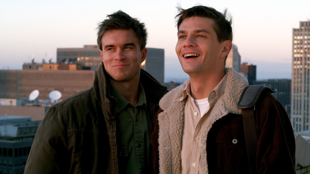 """Matthew Blackwood (Rob Mayes, left) and Daniel Lynch (Trent Ford) in """"Burning Blue."""" The screenplay for the movie was co-written by Helene Kvale, assistant professor-in-residence of performance in the School of Fine Arts. (Photo courtesy of Lionsgate Films)"""
