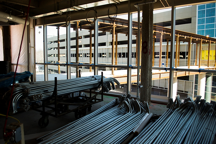 Work is proceeding on the 300,000 square-foot interior of the Outpatient Pavilion, which is expected to be open to patients early in 2015. (Tina Encarnacion/UConn Health Photo)