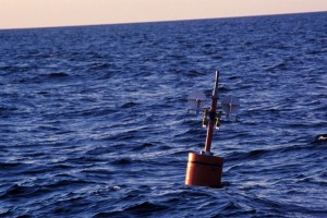 A sensor node deployed in the Atlantic Sea during a test in 2010. (Zheng Peng/UConn Photo)